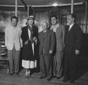 Schneider, la Reine Marie-José d'Italie, Casals, Istomin,Serkin au Théâtre de Perpignan en août 1951
