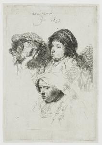 Rembrandt, Trois têtes de femme, l'une endormie
