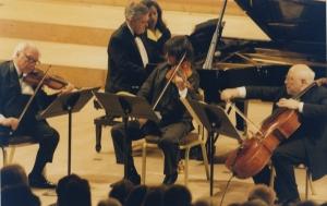 Stern, Istomin, Bashmet et Rostropovitch jouant le Quatuor opus 26 de Brahms à Evian en 1997