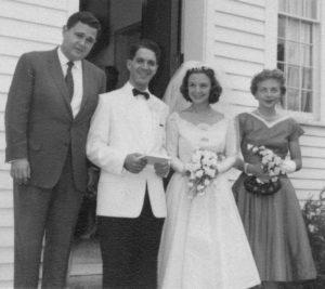 Eugene Istomin avec Claude Frank et Lilian Kallir lors de leur mariage à Marlboro en 1959